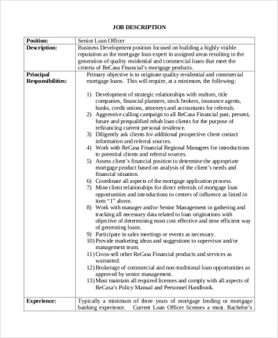Sample Loan Officer Job Description - 8+ Examples in PDF, Word