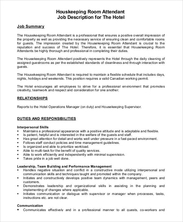 8+ Housekeeping Job Description Samples Sample Templates - housekeeping job description