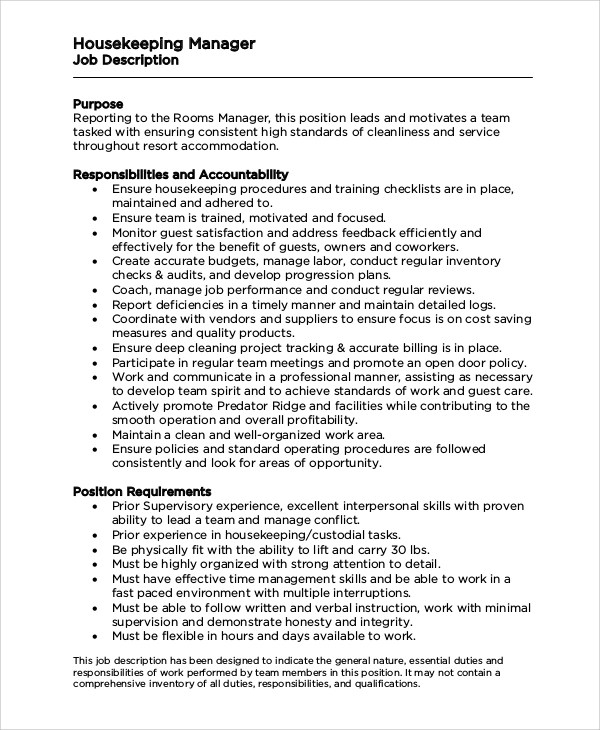 ... Responsibilitiess 8+ Housekeeping Job Description Samples Sample  Templates ...