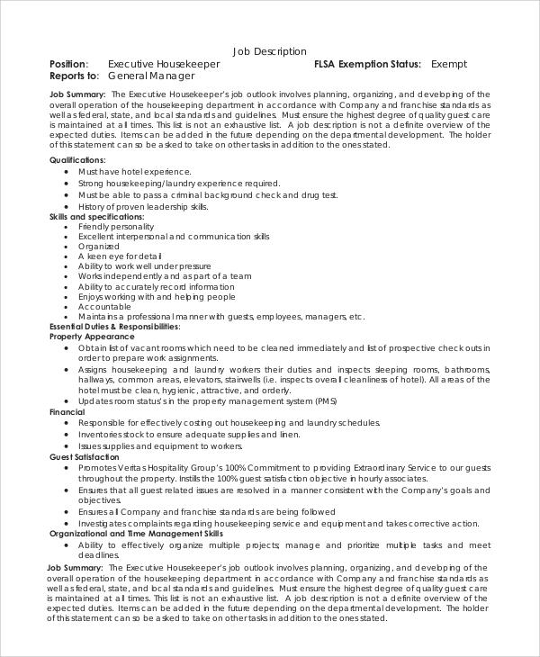 examples of housekeeping resumes executive housekeeper resume