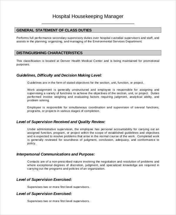Housekeeping job description Homework Service voessaycvgo - housekeeping job description