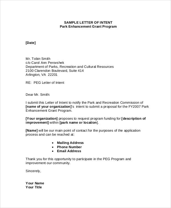 Letter Of Intent Internship Model – Free Letter of Intent