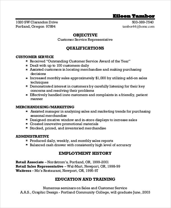 objective resume examples for customer service