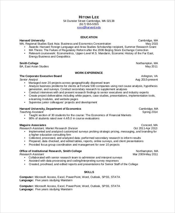 6+ Sample Data Analyst Resumes Sample Templates - survey analyst sample resume