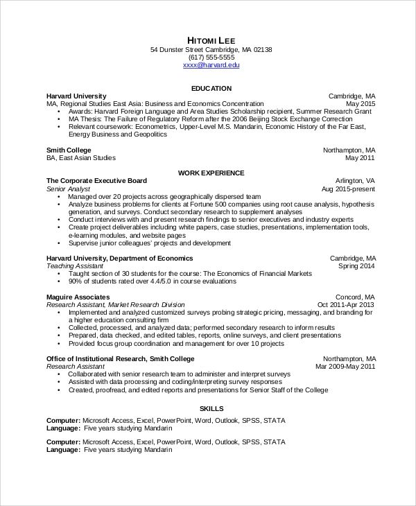 resume for information analyst
