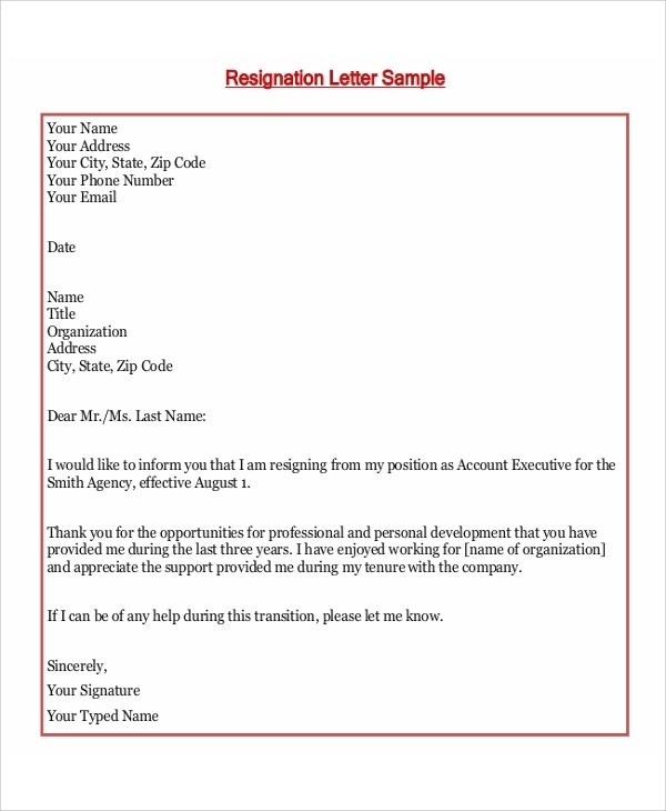 8+ Resign Letter Samples Sample Templates - example resignation letters