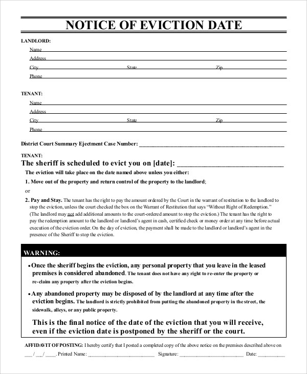 Eviction Notice Sample Eviction Notice To Tenant Template 19+ - notice form in word