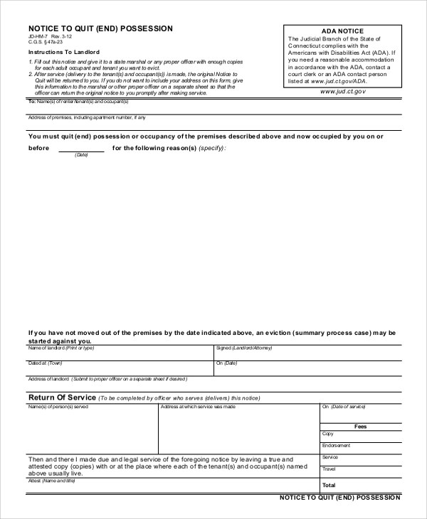 8+ Sample Eviction Notice Forms Sample Templates