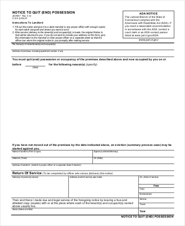 printable eviction notice form free