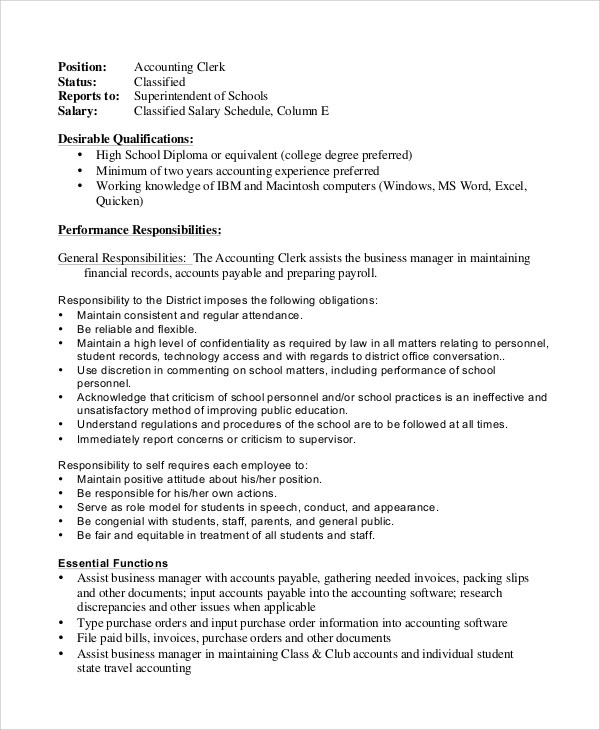 Sample Accounting Clerk Job Description - 13+ Examples in PDF