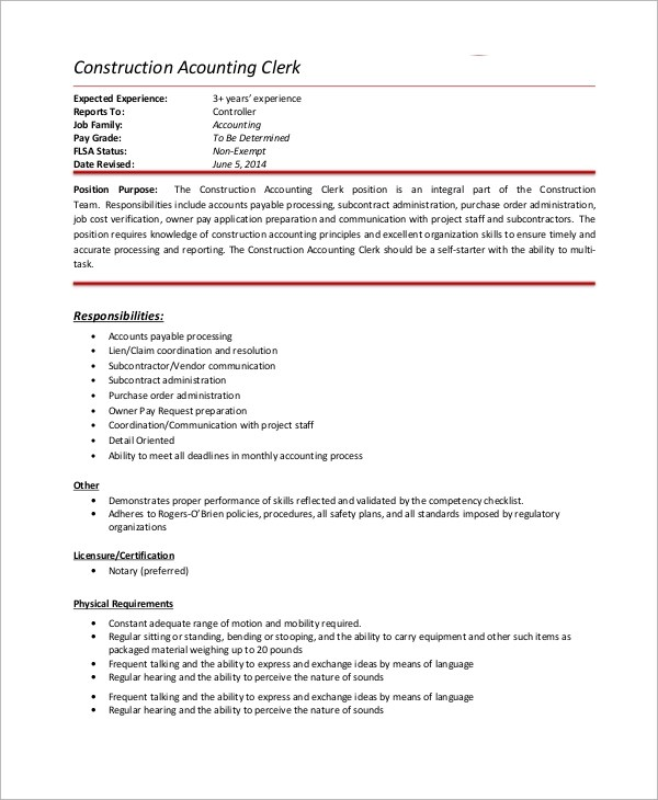 10+ Accounting Clerk Job Description Samples Sample Templates