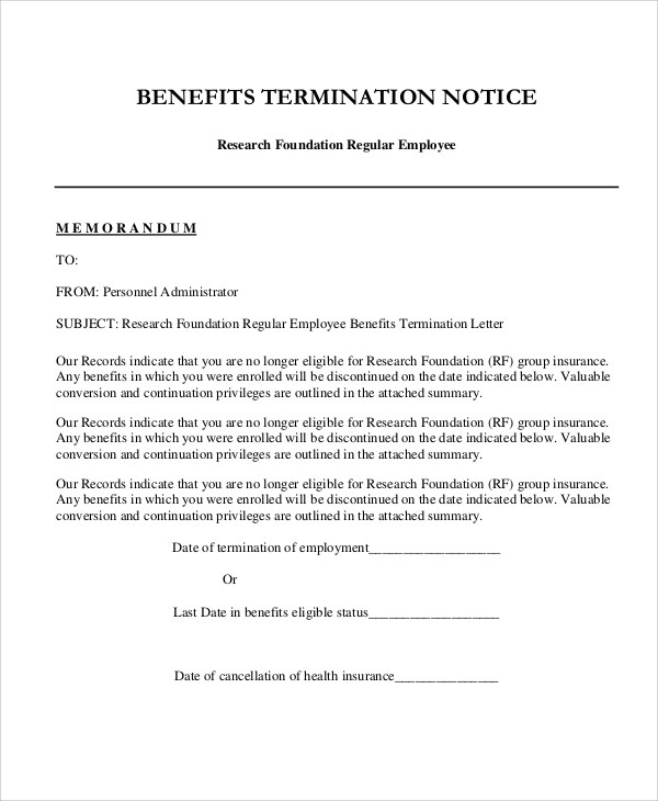 8+ Sample Employee Termination Letters Sample Templates