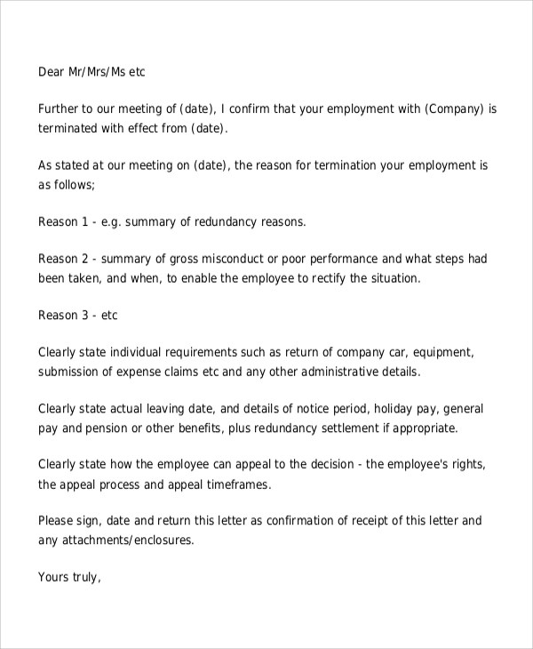 Sample Employee Termination Letter 8 Examples In Word Pdf Sample - writing warning letter for employee conduct