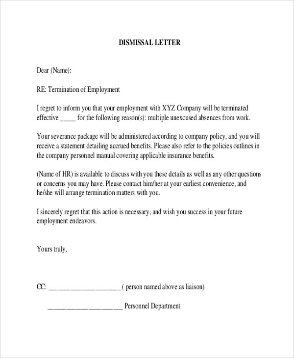 8+ Sample Employee Termination Letters Sample Templates - how to write a termination letter to an employee