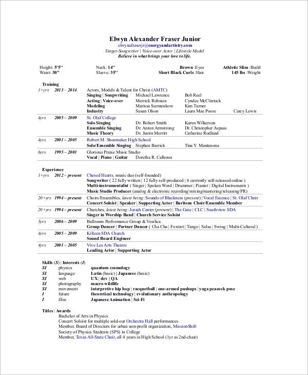 Sample Artist Resume - 8+ Examples in Word, PDF - artist resume
