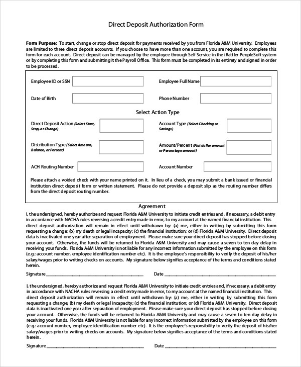 10+ Sample Direct Deposit Authorization Forms Sample Templates