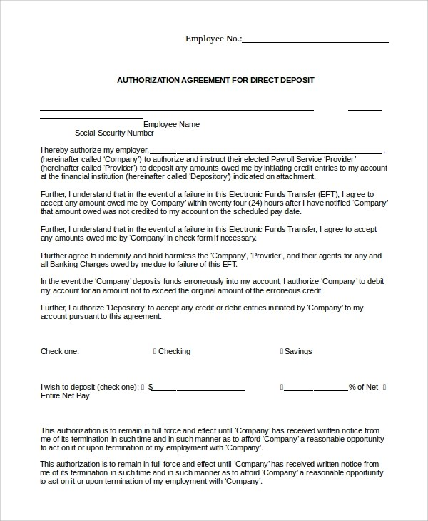 10+ Sample Direct Deposit Authorization Forms Sample Templates - direct debit form