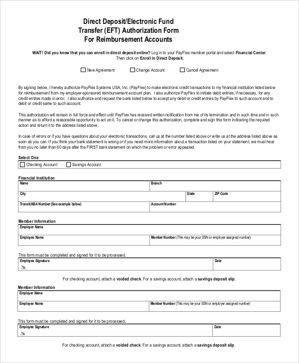 Authorization Form Template 10+ sample direct deposit authorization