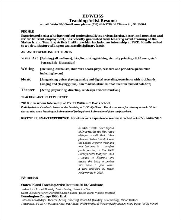 Sample Artist Resume - 8+ Examples in Word, PDF - art resume format