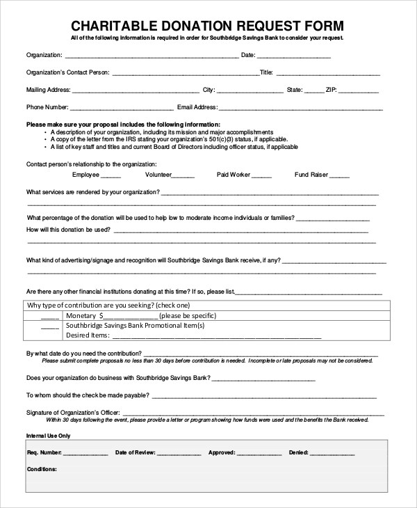 10+ Sample Donation Request Forms \u2013 PDF, Word Sample Templates