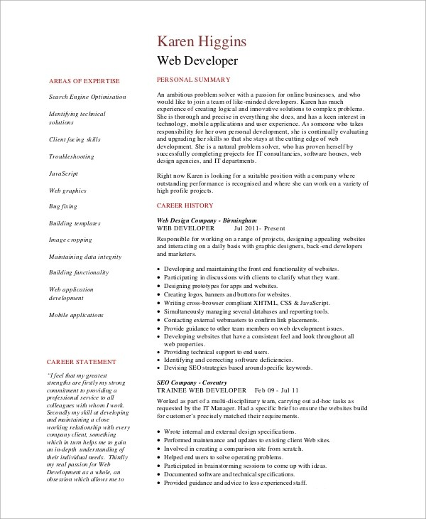 10+ Sample Web Developer Resumes Sample Templates - Web Development Resume