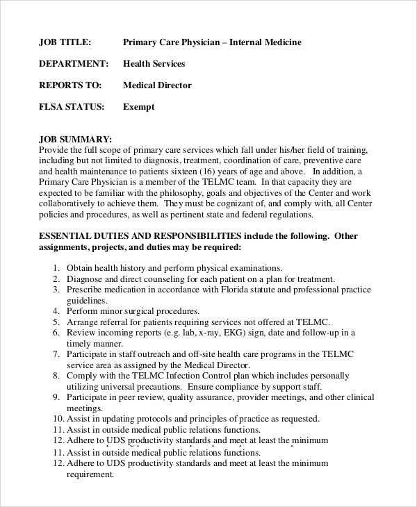 Physician Job Description Physician Surgeon Job Description
