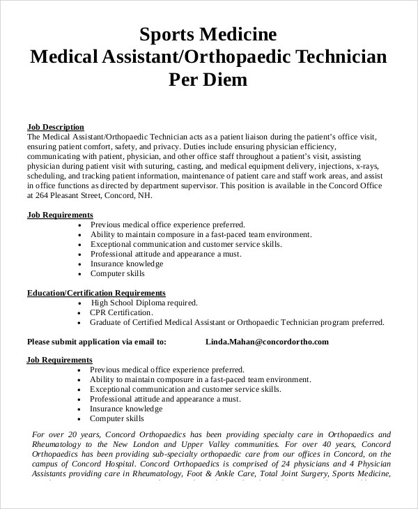 physician assistant job description sample physician assistant job ...