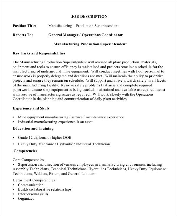 10+ Production Manager Job Description Samples Sample Templates