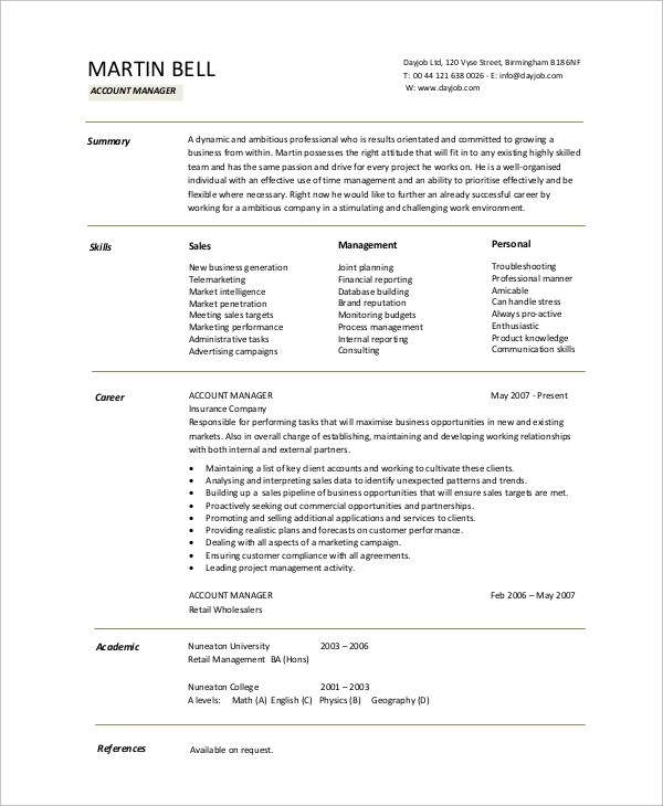 10+ Sample Accountant Resumes Sample Templates - sales account manager resume
