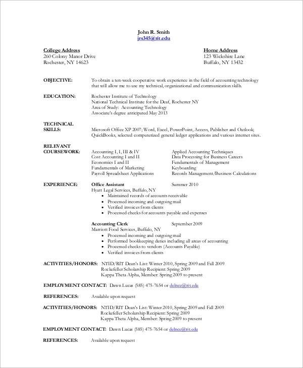 10+ Sample Accountant Resumes Sample Templates - accounting assistant resume