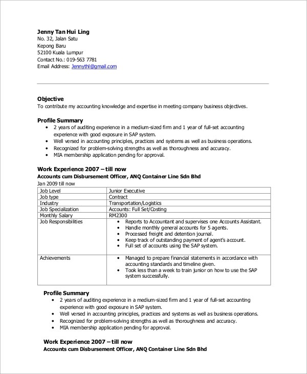 Free Resume Templates Download Microsoft Word Resumes Sample Accountant Resume 10 Examples In Word Pdf