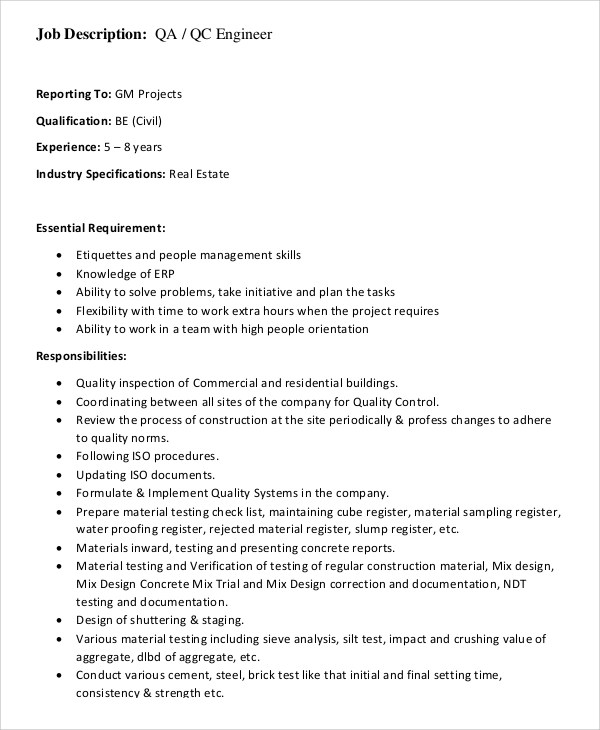 Quality Engineer Job Descriptions  StaruptalentCom