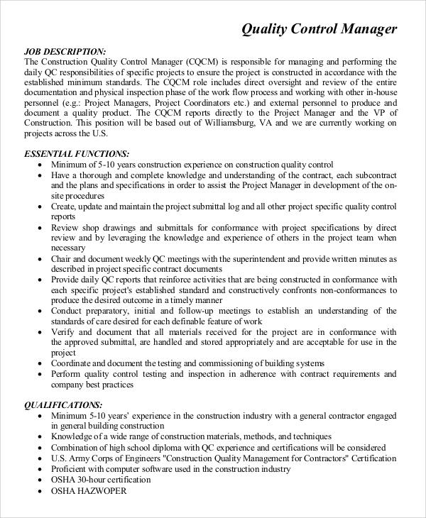 quality control engineer job description
