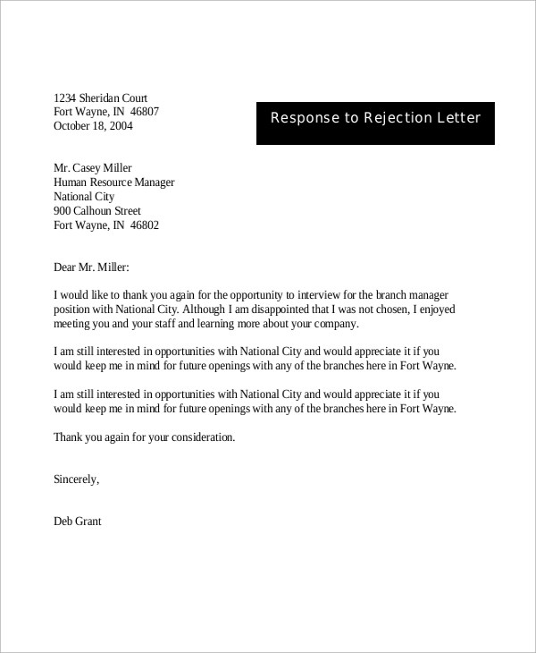 response to rejection letter sample - Ozilalmanoof