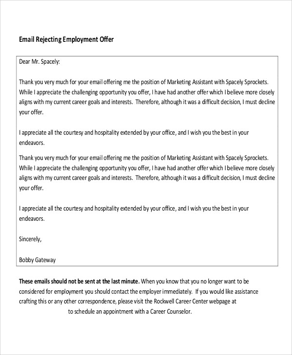 9+ Employment Letter Samples Sample Templates - employment rejection letter
