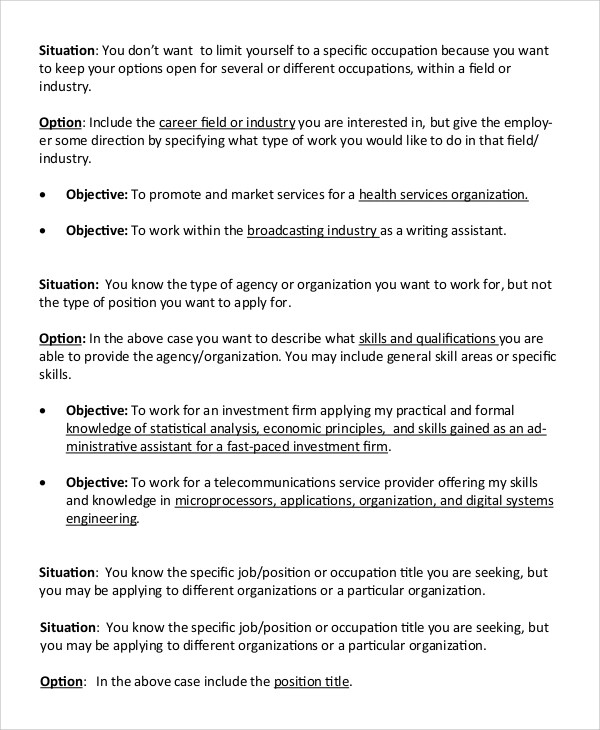 9+ Resume Objective Samples - PDF, Word
