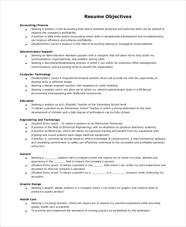 9+ Resume Objective Samples Sample Templates