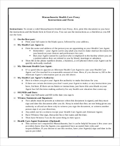 Medical Proxy Form medical proxy form sample advance directive form - medical proxy form