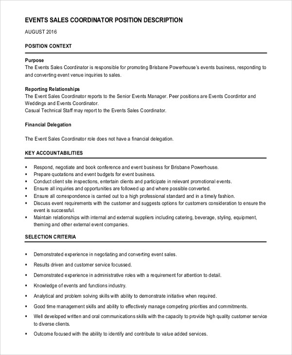 Job Description Event Planner  Professional Resume And Cover