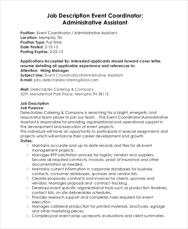 Administrative Assistant Job Description Sample  NodeCvresume