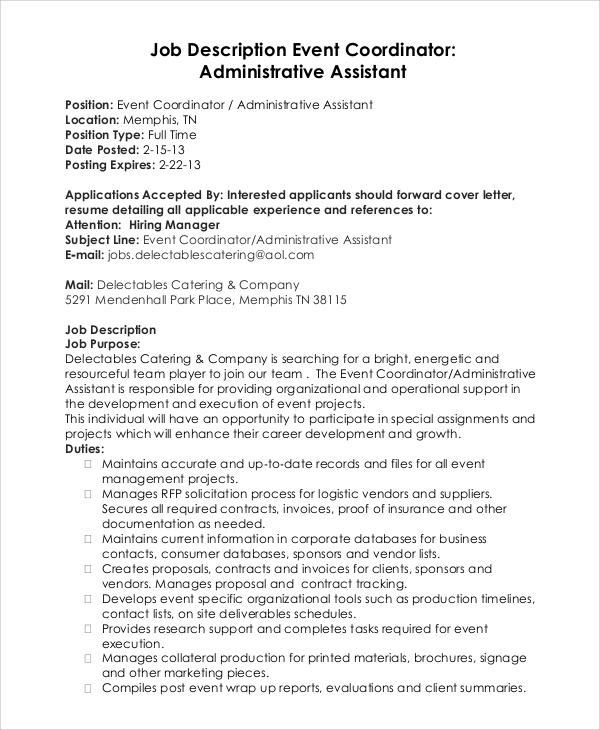 event coordinator assistant resume sample