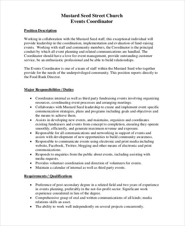 event planner job description