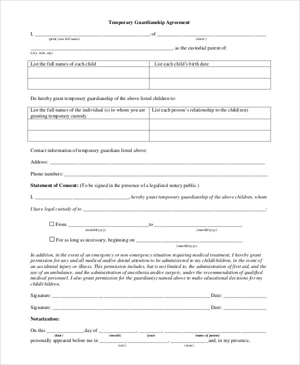 Temporary Guardianship Form Free Temporary Guardianship Form Ohio