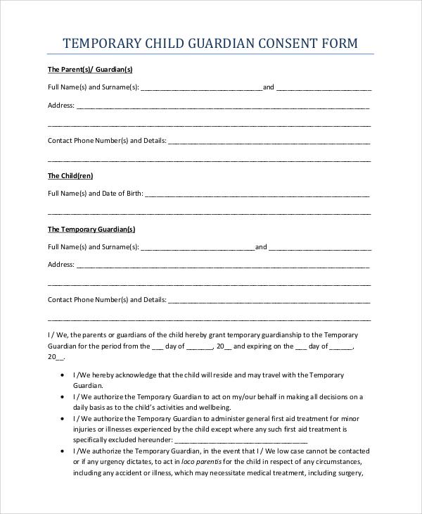10+ Sample Temporary Guardianship Forms - PDF