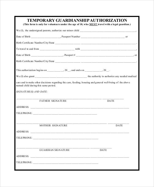 Free Printable Temporary Custody Forms Free Printable