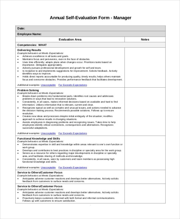 Sample Self Evaluation - 10+ Examples in PDF, Word - performance self evaluation form