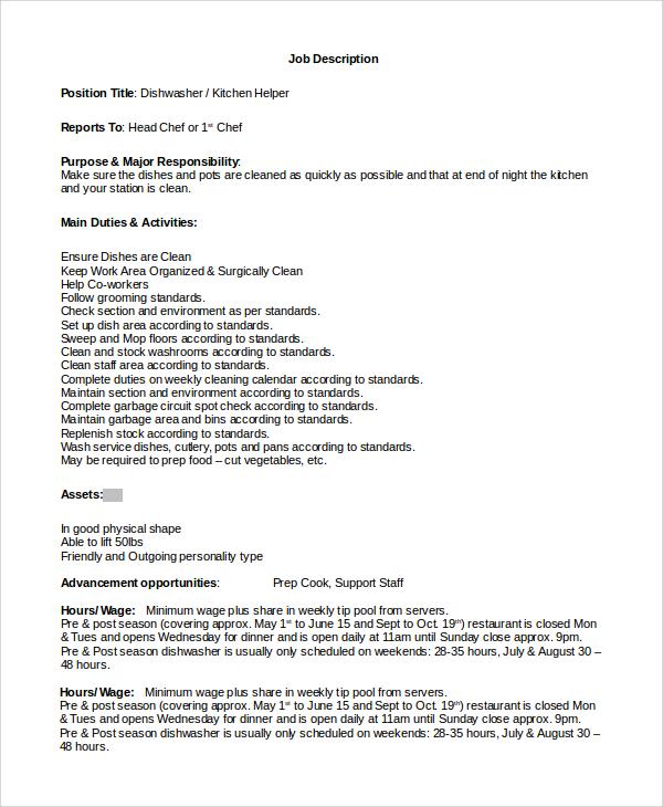 free sample resume kitchen helper