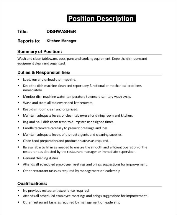 resume template for kitchen manager