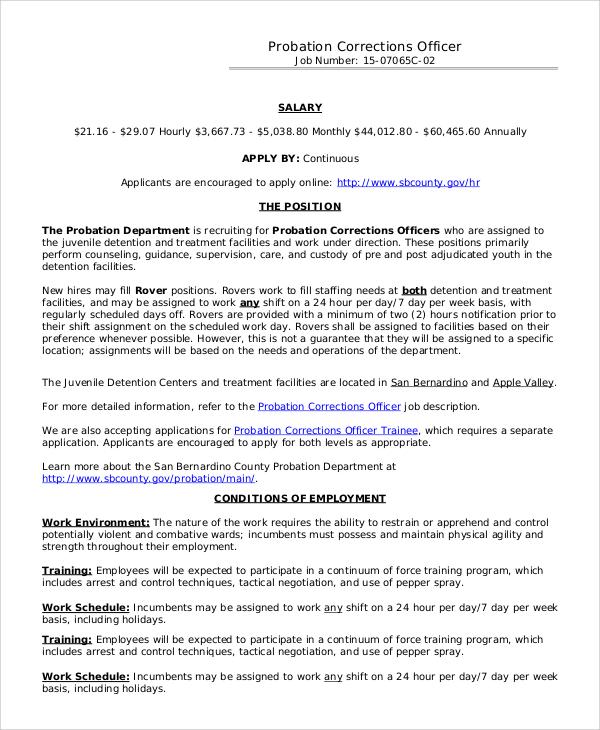 7+ Correctional Officer Job Description Samples Sample Templates