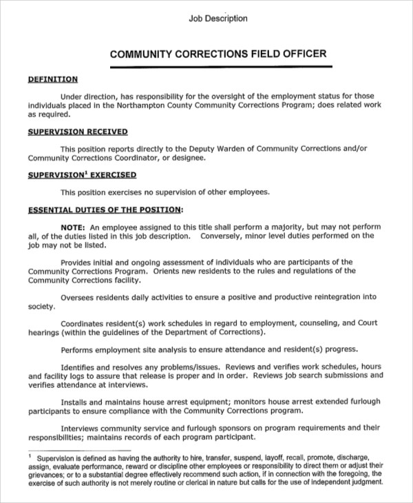 Awesome Probation Officer Job Description Probation Officer Job   Correction Officer  Resume